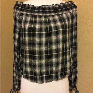 Mossimo Supply Co. Off the Shoulder Plaid Too